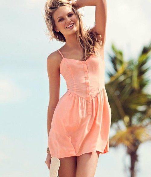 Casual pink-peach sundress for juniors 2015