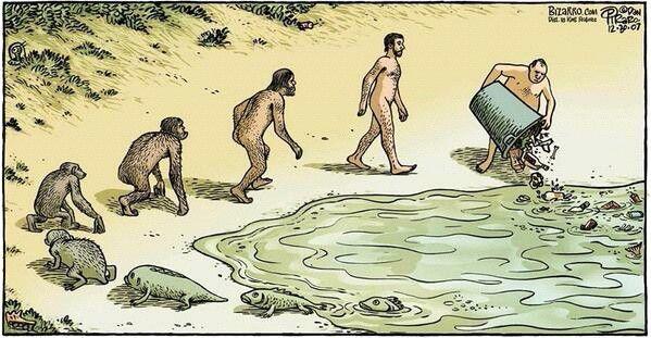 De evolutie van de mens. Hoe een met de natuur de mens was, hoe natuur bevuilend de mens nu is.