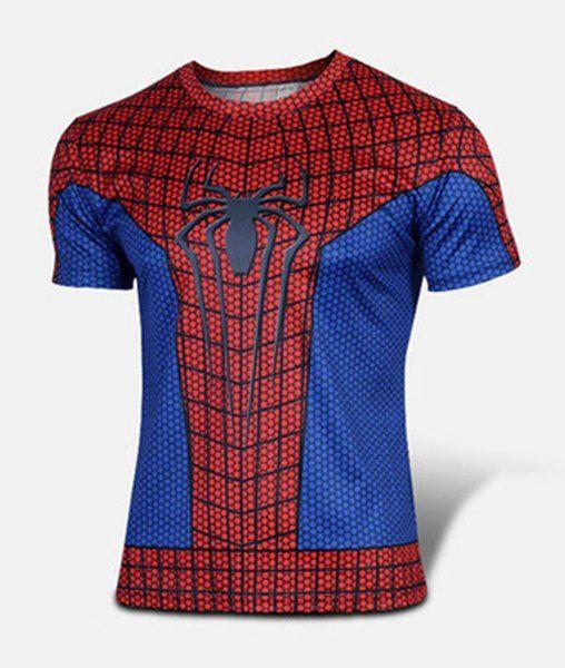 Slimming Stylish Round Neck Color Block Spider-Man Print Short Sleeve  Polyester T-Shirt