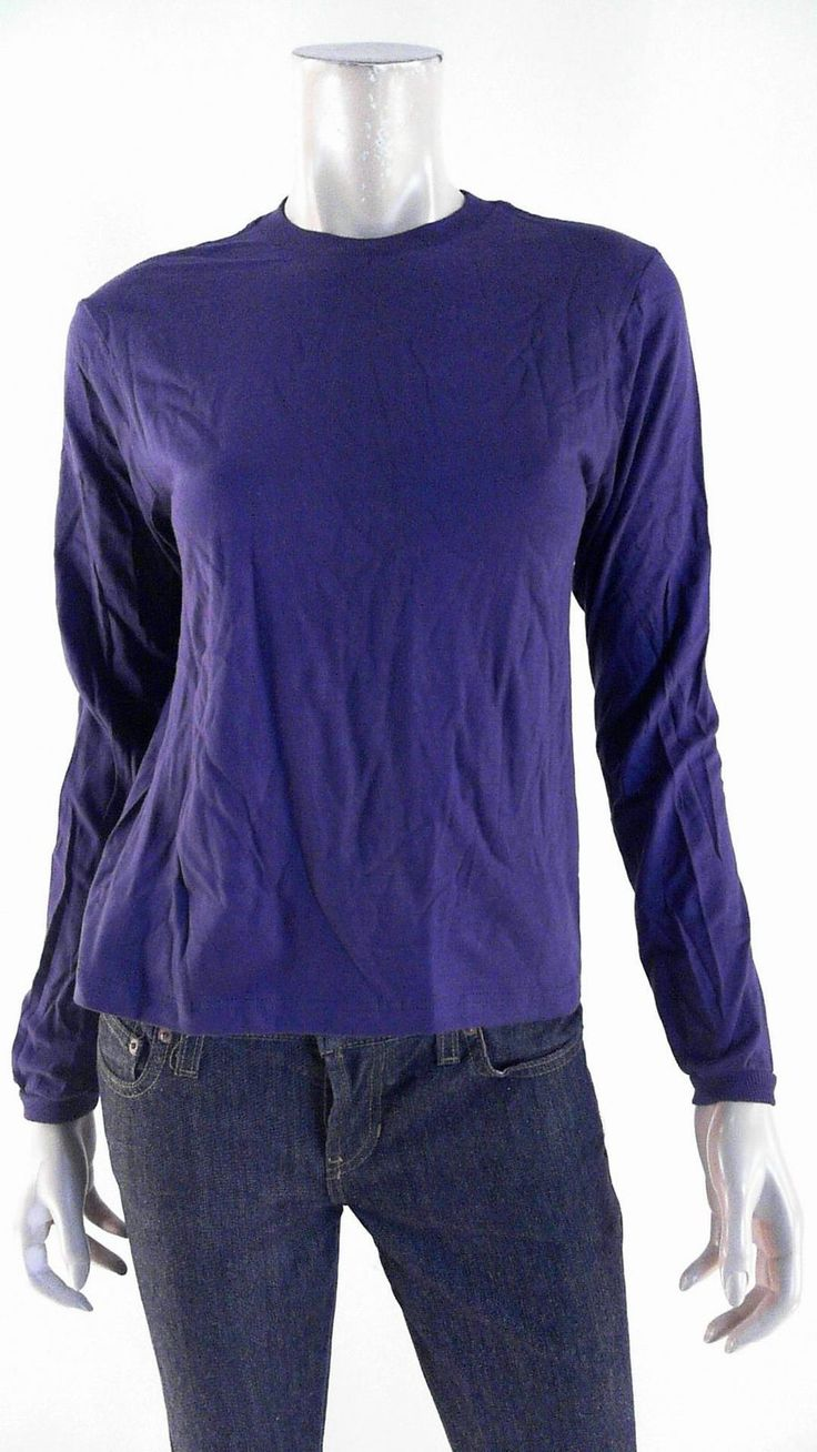 Designer Womens Size S Cotton Shirt Top Pull Over Crew Neck Solid Purple Tee