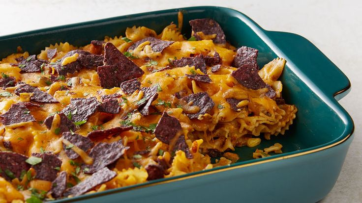This Mexican-inspired pasta bake packed with cheese and chicken is an easy and delicious dinner to throw together.