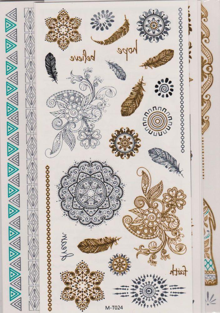 10 Sheets MetallicTemporary Tattoos 200 Shimmer Designs (Gold Silver Black)-New #eBoot