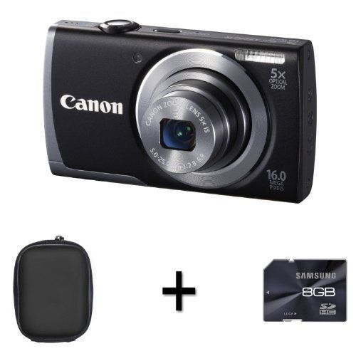 Canon PowerShot A3500 IS - Black + Case and 8GB Memory Card (16 MP, 28mm Wide Angle, 5x Optical Zoom) 3.0 inch LCD by DiscountedDigital, http://www.amazon.co.uk/dp/B00B4BR9AI/ref=cm_sw_r_pi_dp_GW6Nsb04YK7HJ