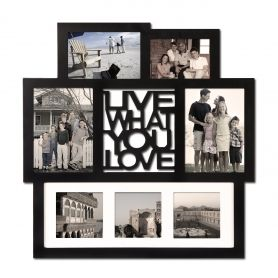 "Adeco Black Wood Wall Hanging Picture Photo Frame Collage ""Live What You Love"" with Mat, 7 Openings, Various Sizes"