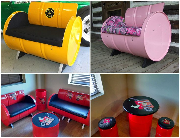 Elegant  gallon Steel Drums Upcycled Into Furniture
