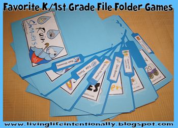 Our favorite {free}  File Folder Games for K / 1st Grade including addition, subtraction, rhyming, telling time, skip counting, money, opposites, and blends. See more at www.livinglifeintentionally.blogspot.com