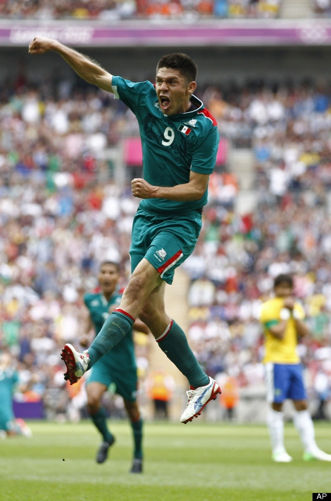 Peralta celebrates his second goal against Brazil in the 2012 Olympic Soccer finals.