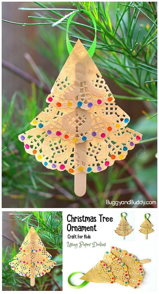 Christmas Tree Ornament Craft For Kids Using Paper Doilies Buggy And Buddy Christmas Tree Ornament Crafts Diy Christmas Tree Ornaments Easy Christmas Diy