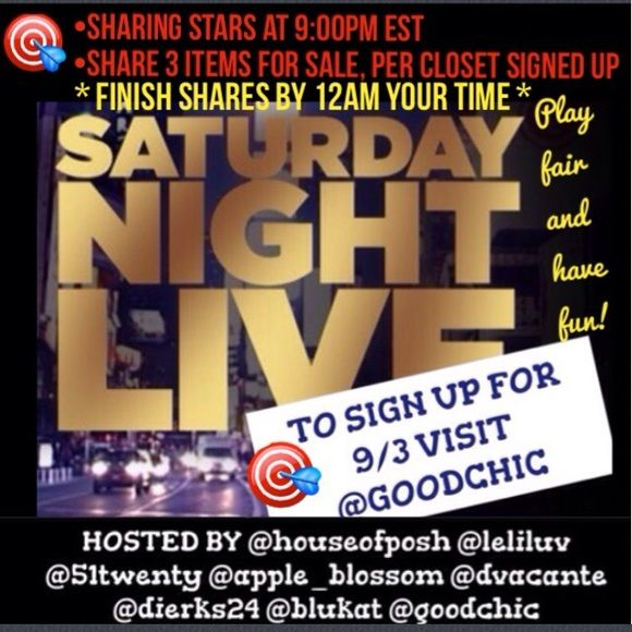 """SNL tonight🎯Sign up sheet is up, go to @goodchic """"Like"""" to learn of new / impromptu SNL groups. I will drop the price with notification of upcoming impromptu SNL groups. This group is hosted in a different closet each time, so make sure to Like this so you can find out where (in which closet) the group is happening next! SNL Other"""