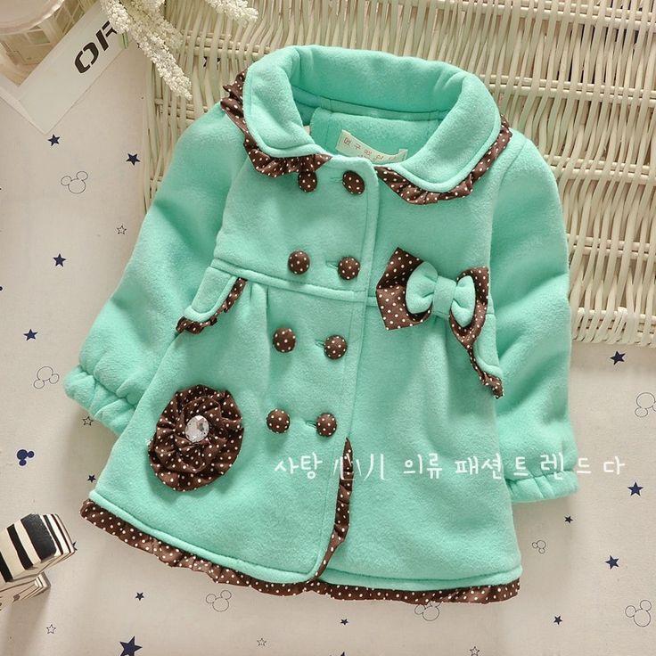 Зеленый теплая зима дети девушка верхней одежды пальто с луком и цветочный декор флиса с длинными рукавами малыша женский пиджак пальто купить на AliExpress