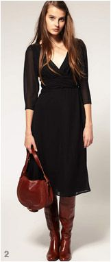 Black dress with brown leather accessories. (good article for reference- Midi Dress- footwear for the length)