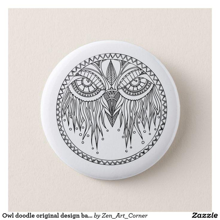 Owl doodle original design badge