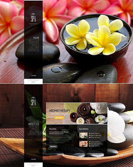 Spa Salon One Page Website Template Design With Gallery And Drop Down Menu