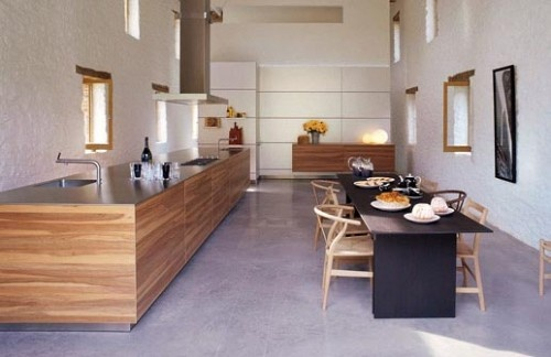 open plan contemporary wooden kitchen dining combination design Bulthaup