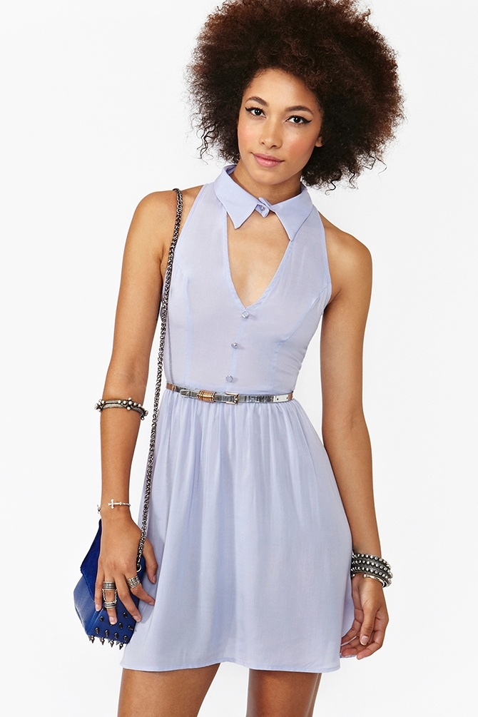 Plunging Cutout Dress in Lilac