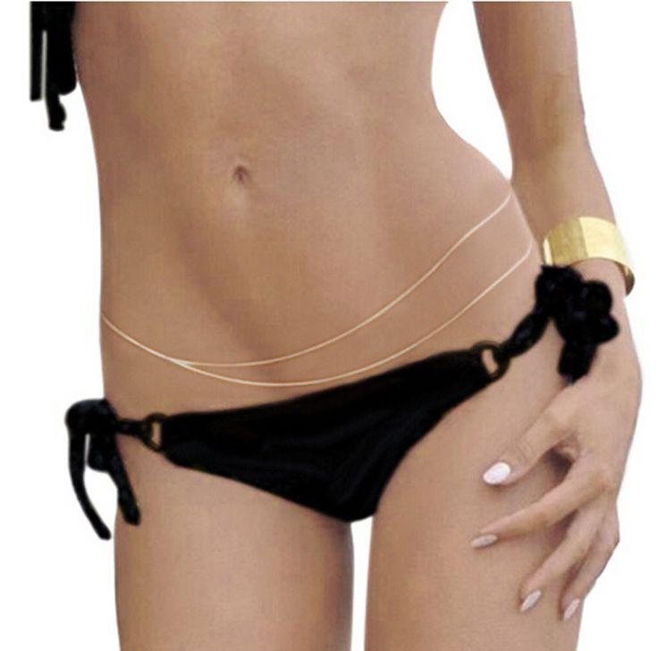 Sexy Women Simple Bikini Double Layer Tassel Belly Body Chain Jewelry Gold/Silver Waist Link P1154