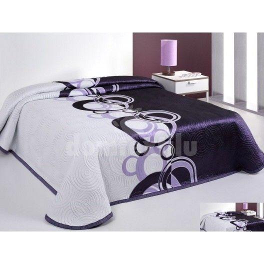 Bielo fialové prehozy na posteľ s kruhovými vzormi