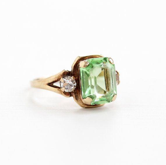 Emerald Peridot Ring