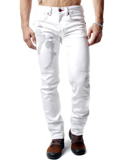 Embroidered Angel Wing Design White Flap Pocket Slim Fit Straight Jean