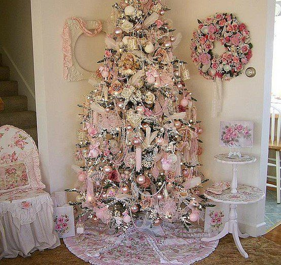Super shabby Christmas tree (courtesy Shana's Country Treasures)..DOING AN ALL PINK TREE THIS YEAR..SAW ONE AT AMERICAN SALES FIRST..MY GRANDAUGHTER LOVES IT..FIVE YRS OLD!