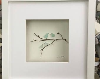 """Genuine SeaGlass Pebble Art Bird Family in a 9"""" x 9"""" Shadow Box Frame Modern WallArt Abstract Contemporary Signed."""