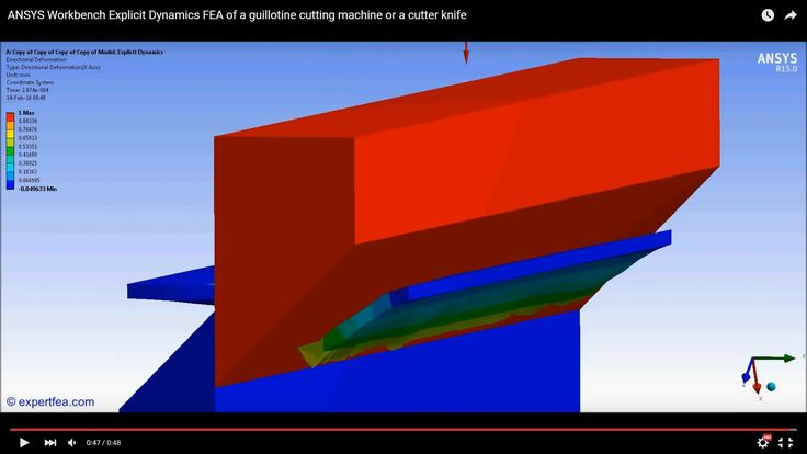 ANSYS Workbench Explicit Dynamics FEA of a guillotine cutting machine or...