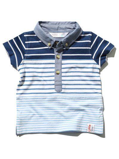 Stripe chambray polo shirt