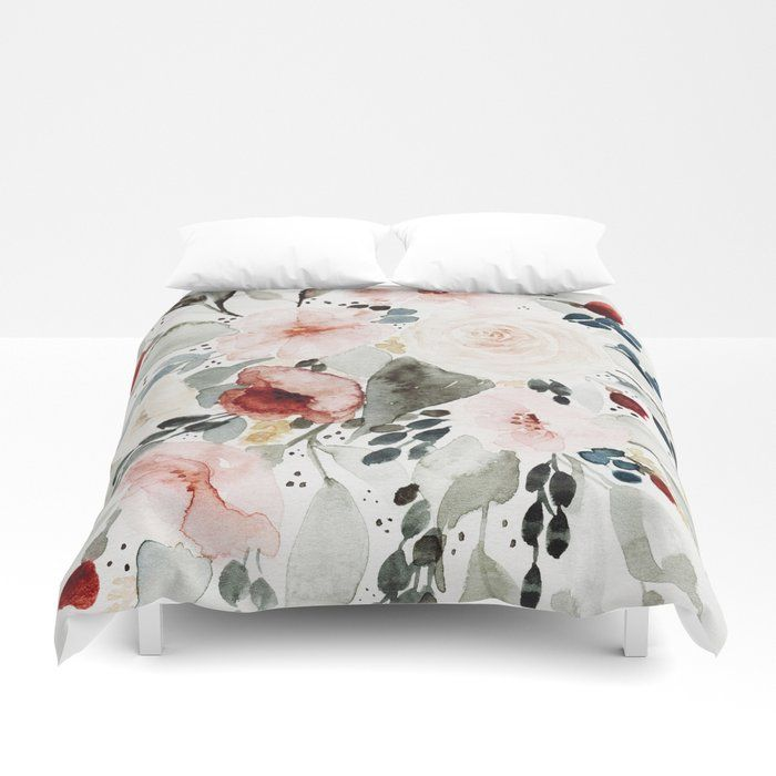 Buy Loose Watercolor Bouquet Duvet Cover And Bedding By