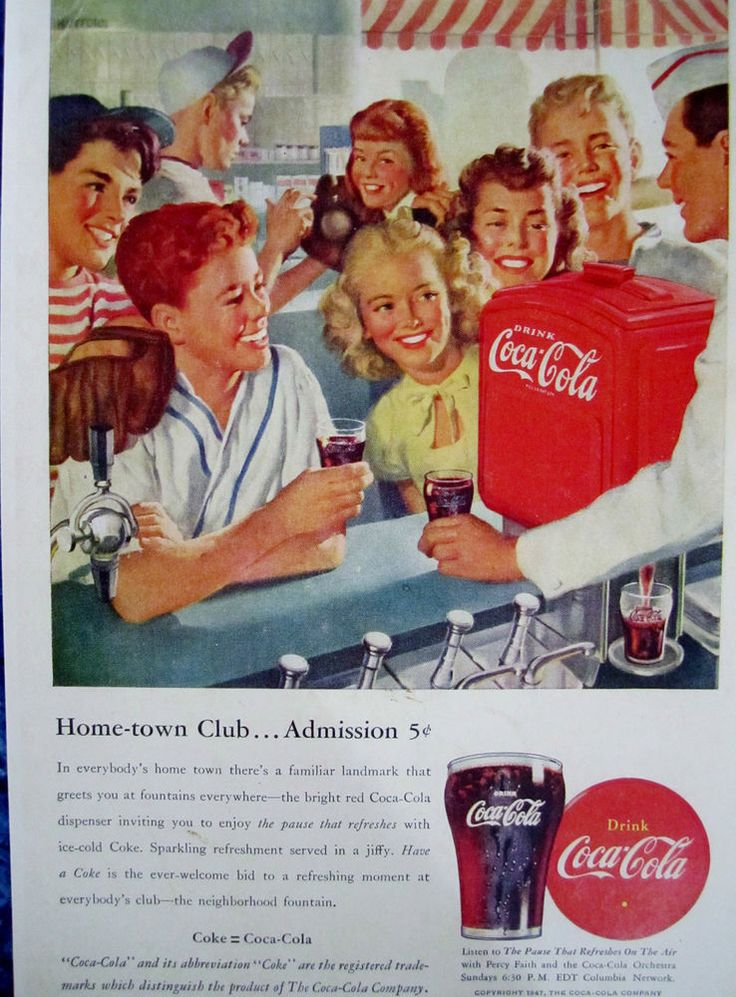 "Vintage Coca Cola 1947 SODA FOUNTAIN  Ad Store Sign ""HOMETOWN BASEBALL CLUB"" #CocaCola"
