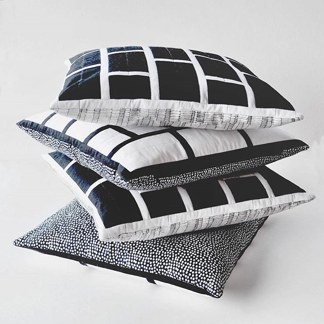 Finally got these finished off and listed.  Which one do you prefer?  The black and white or the white and back?  #quiltedcushions  #handmade  #tasdesigned  #blackandwhite  #monochrome  #modernquilts