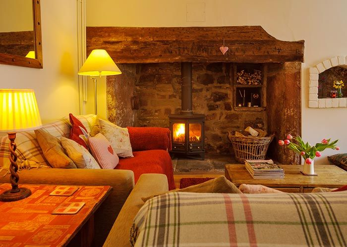 Wood burner in cosy living room