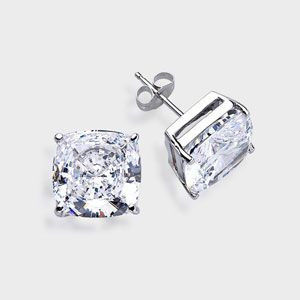 2.5 Ct. Each Cushion Cut  14K Stud Earring. High quality cubic zirconia stud earrings featuring 2.5 carat each (8mm) cushion cut in a four-prong basket setting. An approximate 5.0 total carat weight. These popular cubic zirconia earrings are available in 14k white gold or 14k yellow gold. Cubic zirconia weights refer to equivalent diamond carat size.