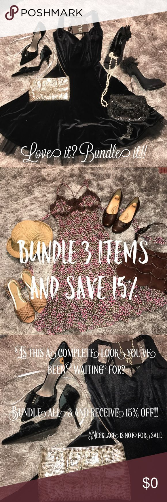 """Bundle three items or more and save 15% The only thing better than finding a new outfit is finding it on sale. Put together an entire look, or an entire wardrobe, and save 15%.  Click the hangar to go to the closet where you will find all of your """"liked"""" (I say it's love❤️) items. Click the bundle button under the items you would like to purchase to add them to your bundle. Check out your savings! Orders over 5 pounds will need to be broken up into 2 orders. Other"""