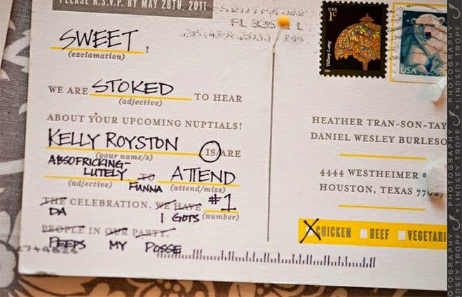 21 Insanely Fun Wedding Ideas - Send Your Guests Mad Lib RSVP's