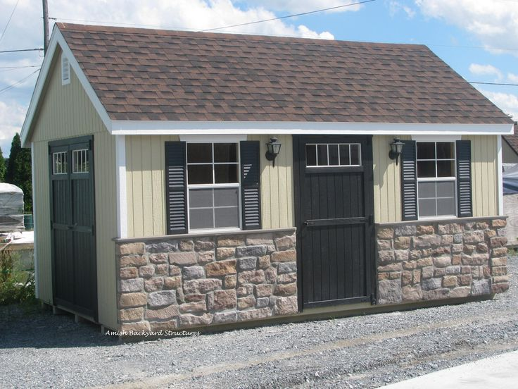 customize the new england shed to your preference shown here with an optional stone front