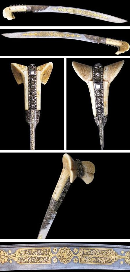 """This yatagan (or yataghan) sword has a steel blade richly overlaid with gold and with a large walrus ivory handle embellished with silver-gilt filigree and applique mounts and decoration is dated 1226 (which approximates to 1811).It includes a tughra for Sultan Mahmud II that reads """"Mahmud Han bin Abdulhamid mazaffer daima' - 'Mahmud Khan, son of Abdulhamid is forever victorious"""" as well as Koranic verses. Source: Copyright © 2013 Michael Backman Ltd."""