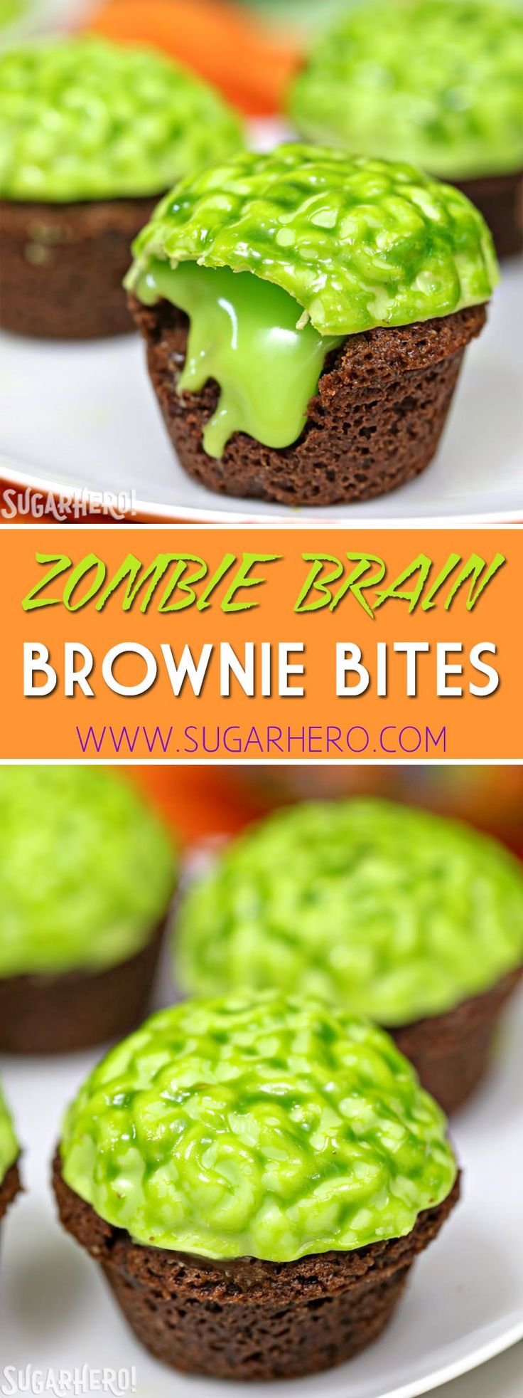 "Zombie Brain Brownie Bites are bite-sized brownies, topped with a bright green zombie brain that oozes green chocolate ""slime!"" 