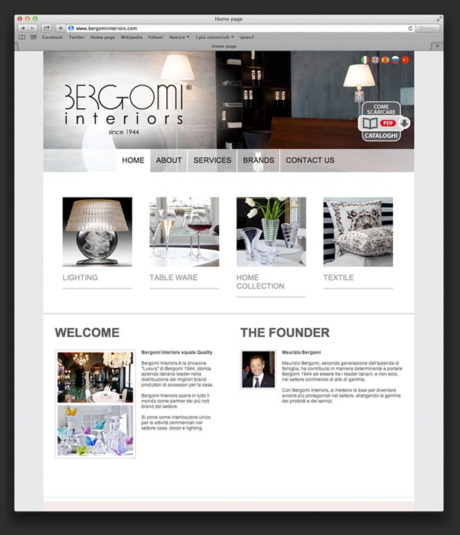 Bergomi interiors website: luxury division for home collection, decor and lighting.