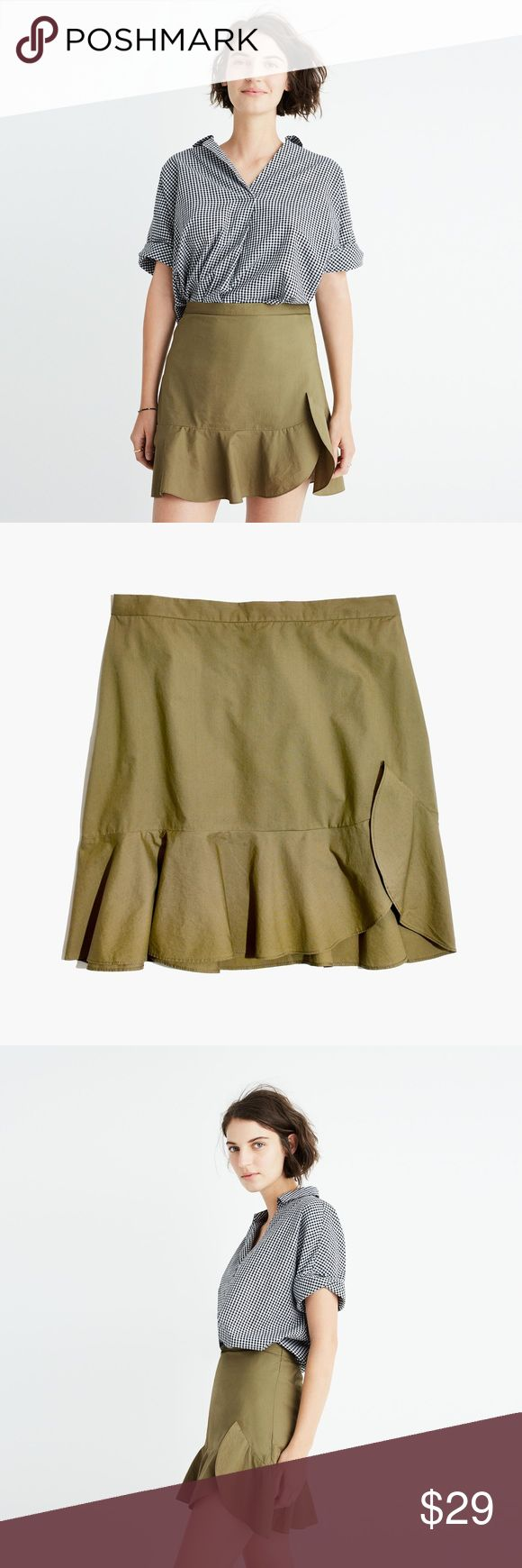 "New Madewell Ruffle-Wrap Mini Skirt Size 6 Brand new with tags Madewell ruffle-wrap mini skirt in olive color, size 6. Super cute A-line style. 16 1/4"" long. Cotton, machine washable. Originally $78. Madewell Skirts Mini"