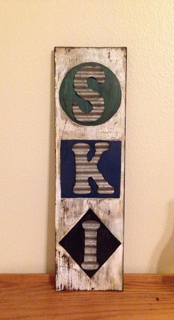 Saturday sale Distressed Ski trail sign by NCSustainableStyle