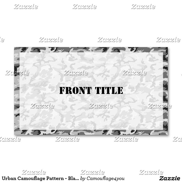 Urban Camouflage Pattern - Black & Grey Business Card | a ...