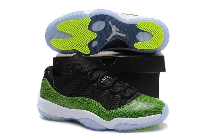 "Men's Authentic Air Jordan 11 Low ""Green Snakeskin""Shoes"
