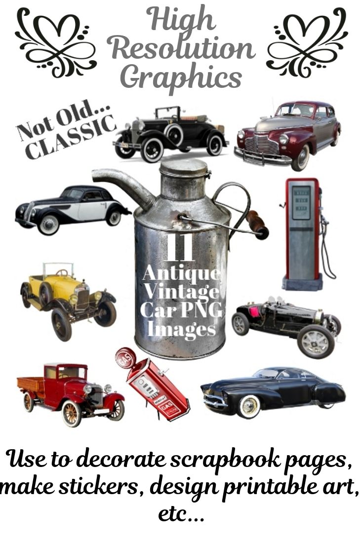 11 Antique Vintage Classic Car Image clipart set with UNLIMITED