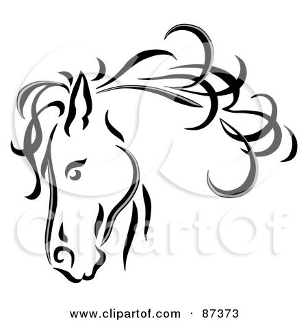 Royalty-Free (RF) Clipart Illustration of a Black Line Art Horse Head With A Blowing Mane by C Charley-Franzwa