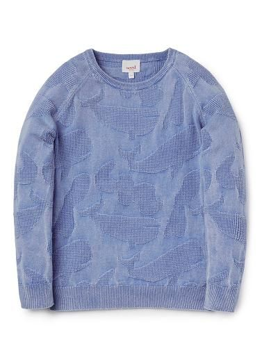 100% Cotton knitted sweater featuring whale camo intarsia and all over washed back effect.