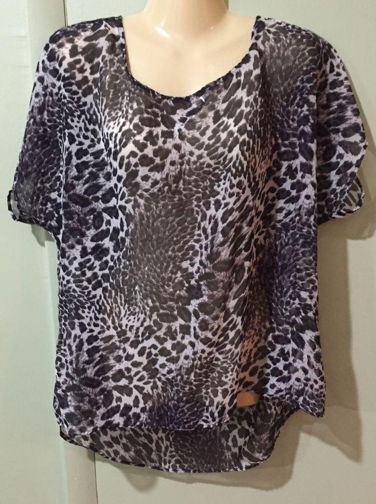 Shirt Seven 7 Women's Animal Print Short Sleeve Blouse Size S - Small    eBay