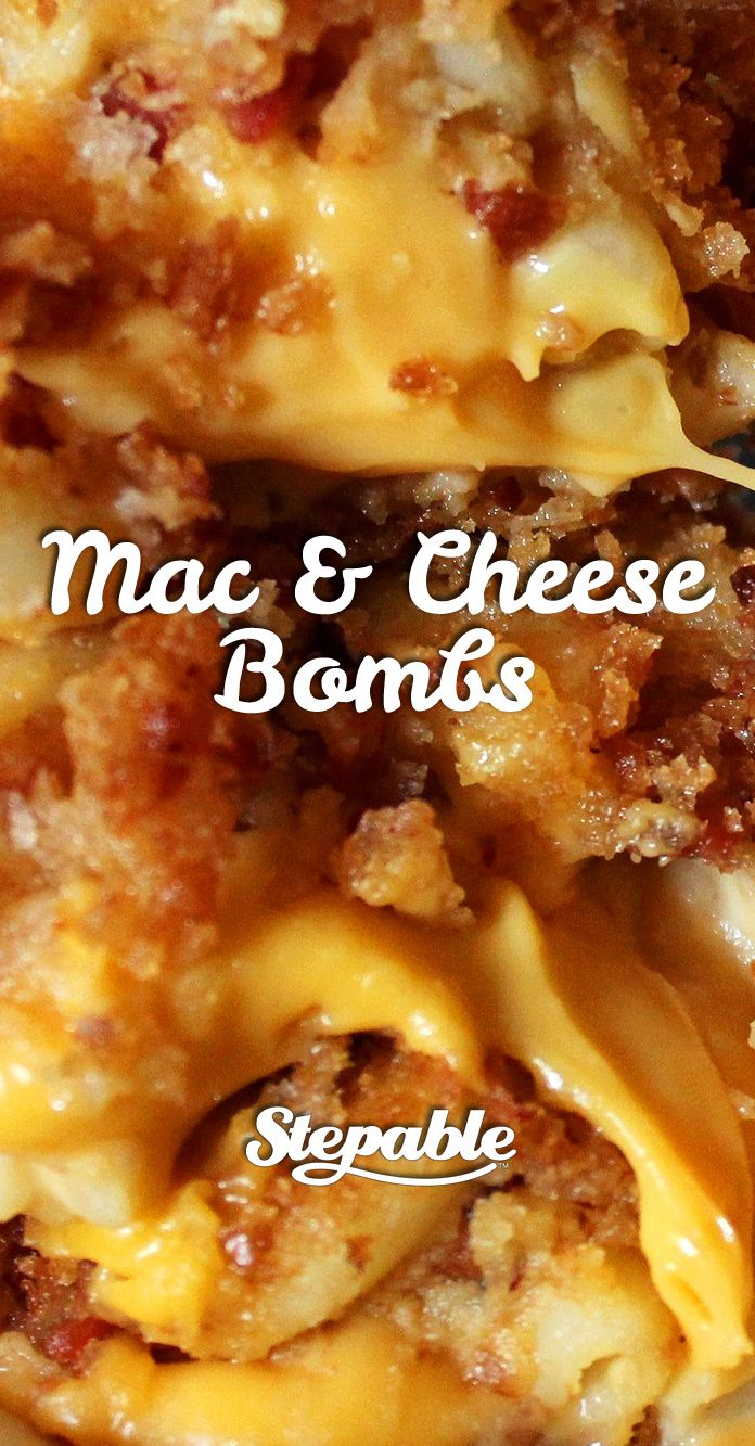 These cheesy, bacony hand-held bites of mac and cheese deliciousness could quite possibly be the most perfect snack food ever. Make a pile of these for the next game and watch them disappear. #stepable #recipes