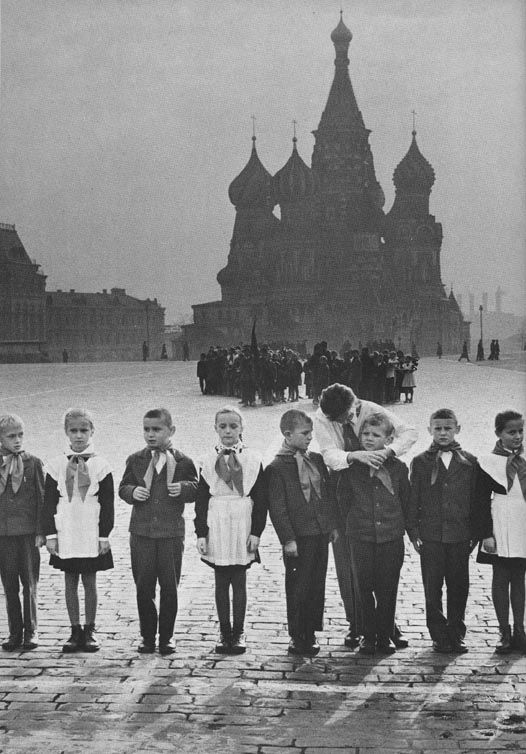 Soviet young pioneers in Red Square, Moscow, USSR.