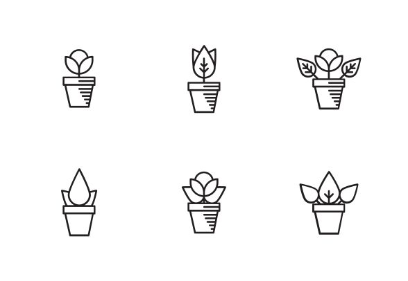 Vector outline flower in a pot icon set. #FlowerIcon #VectorFlower