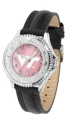 Virginia Tech Hokies Women's Leather Watch Mother Of Pearl by SunTime. $89.95. Officially Licensed Virginia Tech Hokies Ladies Leather Sports Watch. Mother of Pearl Face. Adjustable Band. Women. Poly/Leather Band. Virginia Tech Hokies Women's leather wristwatch. This Hokies wrist watch features functional rotating bezel color-coordinated to compliment team logo. A durable, long-lasting combination nylon/leather strap, together with a date calendar, round out this best-sellin...
